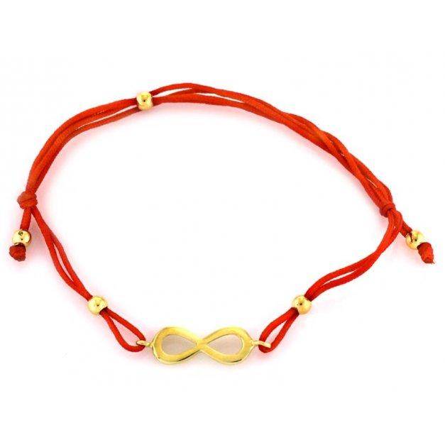 Złota bransoletka 585 na sznurku nieskończoność
