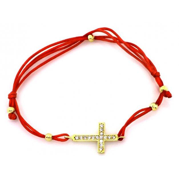 Złota bransoletka 585 na sznurku PREZENT GRAWER
