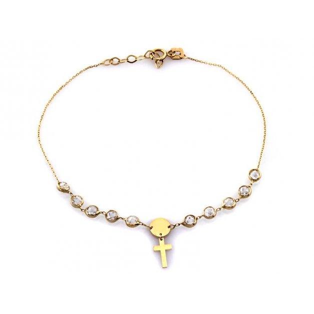 Złota bransoletka 585 z kamieniami krzyżyk