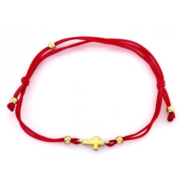 Złota bransoletka 333 na sznurku PREZENT GRAWER