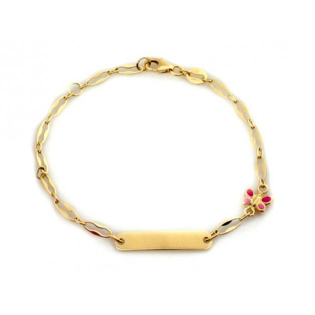 Złota bransoletka 585 dla dziecka motyl PREZENT