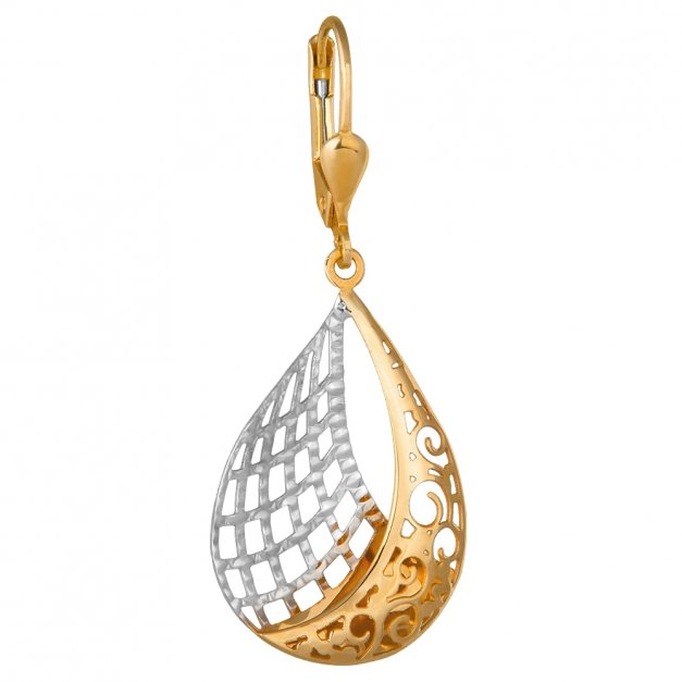 Złote Kolczyki 333 Ażurowe Boho Grawer