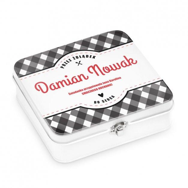 Metalowa Śniadaniówka Lunch Box z Nadrukiem Kratka