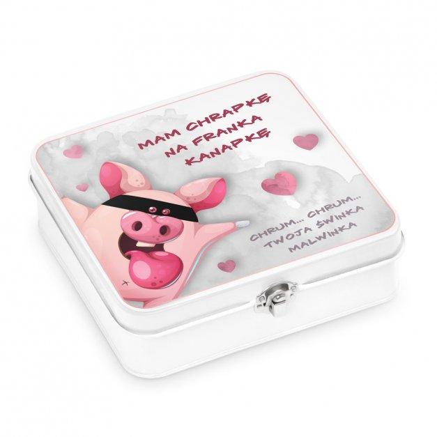 Metalowa Śniadaniówka Lunch Box z Nadrukiem Świnka