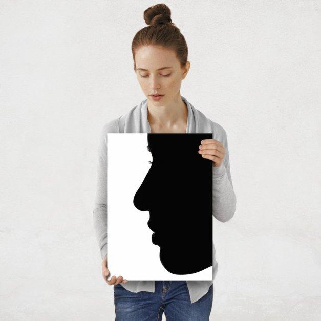 Plakat metalowy czarno-biała kobieta M
