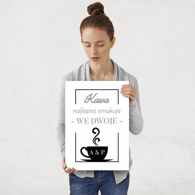 Plakat metalowy kawa we dwoje M