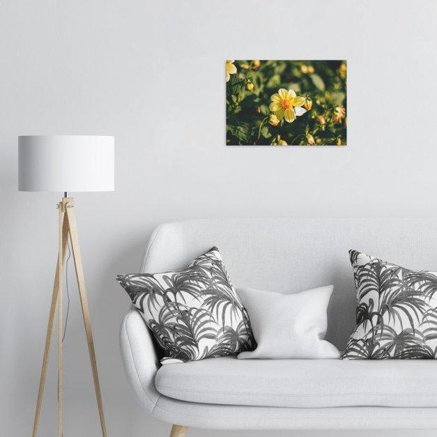 Plakat metalowy żółte kwiaty M