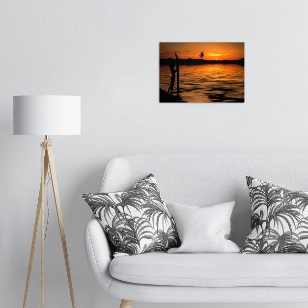 Plakat metalowy surferka na tle zachodzącego słońca M