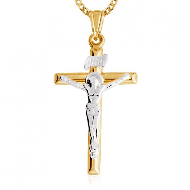 Złoty Komplet 333 Łańcuszek z Krzyżykiem ZZ163