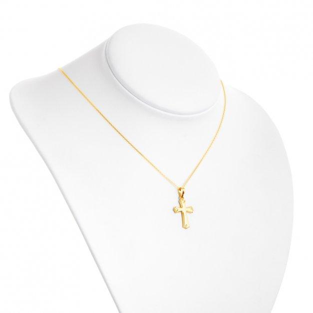 Złoty Komplet 333 Łańcuszek z Krzyżykiem GRAWER ZZ37