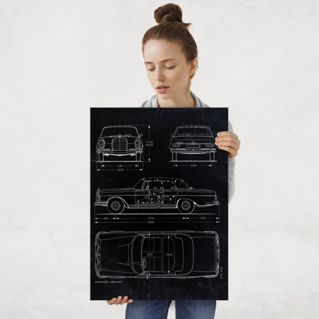 Plakat metalowy czarny projekt samochodu Mercedes W111 coupe L