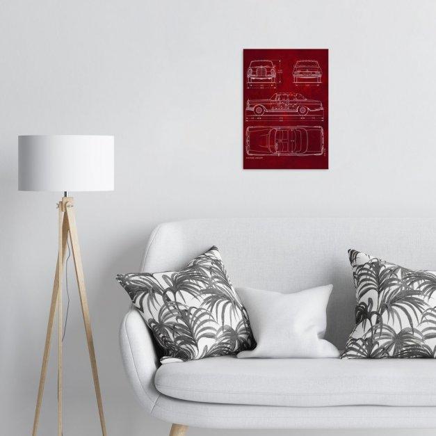Plakat metalowy projekt samochodu Mercedes W111 coupe na czerwonym papierze M