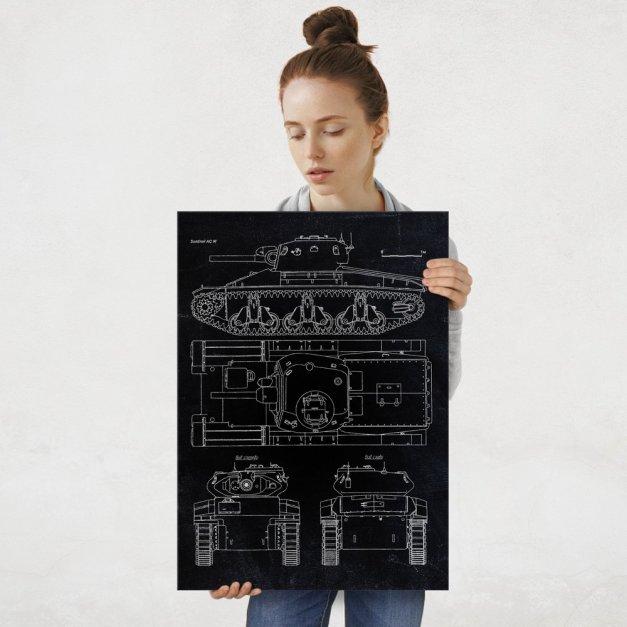 Plakat metalowy czarny projekt czołgu Sentinel AC III L