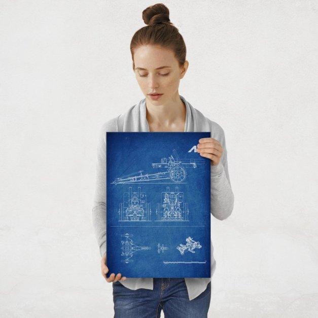 Plakat metalowy niebieski projekt działa M