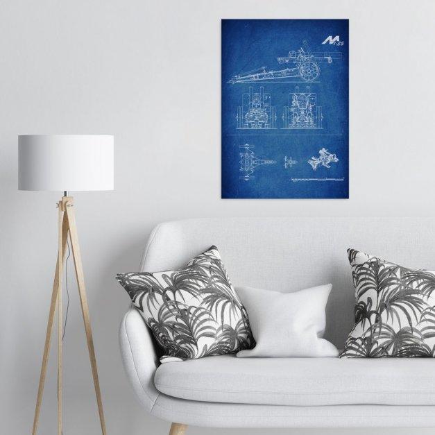 Plakat metalowy niebieski projekt działa L