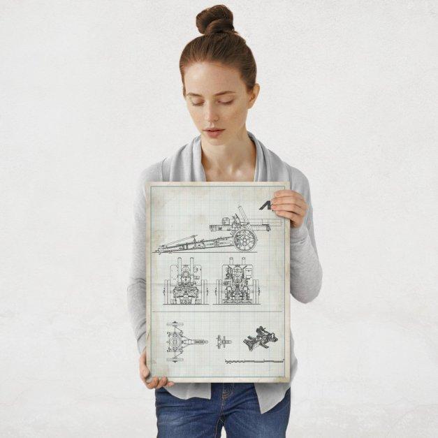 Plakat metalowy projekt działa na papierze w kratkę M