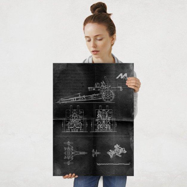 Plakat metalowy projekt działa na czarnym papierze L