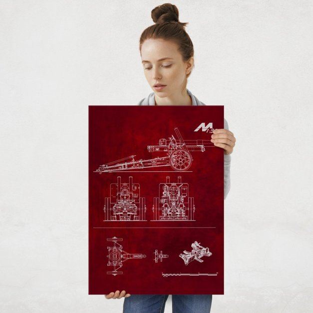 Plakat metalowy czerwony projekt działa L