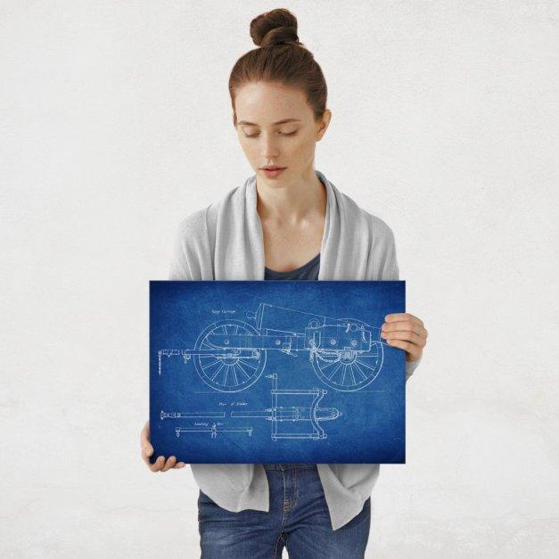 Plakat metalowy niebieski projekt armaty M