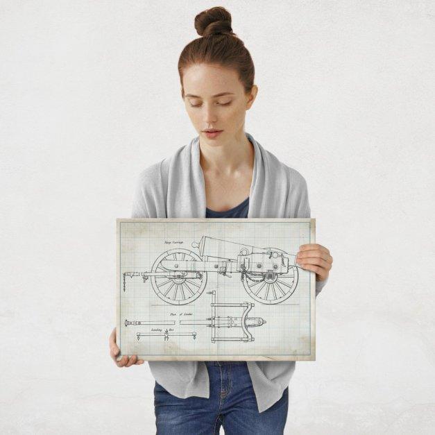 Plakat metalowy projekt armaty na papierze w kratkę M