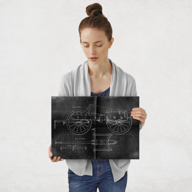 Plakat metalowy projekt armaty na czarnym papierze M