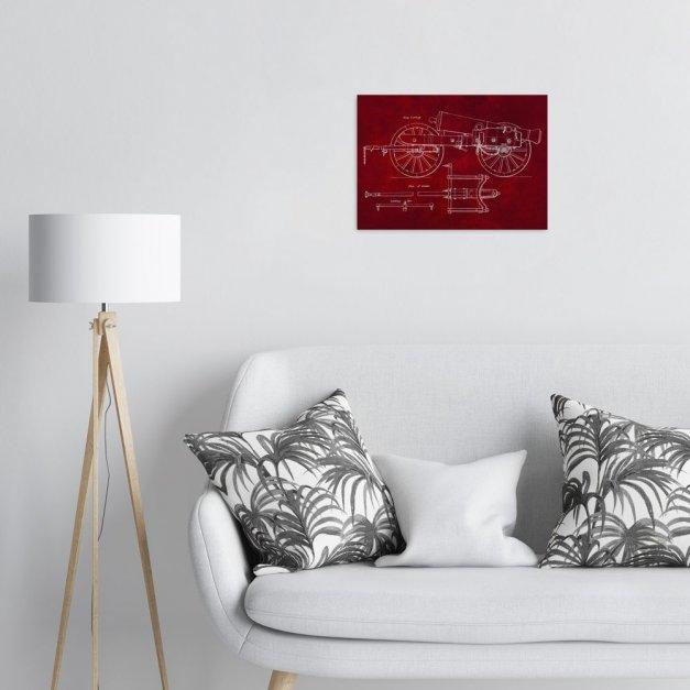 Plakat metalowy czerwony projekt armaty M