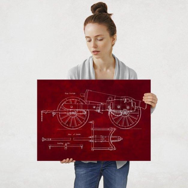 Plakat metalowy czerwony projekt armaty L