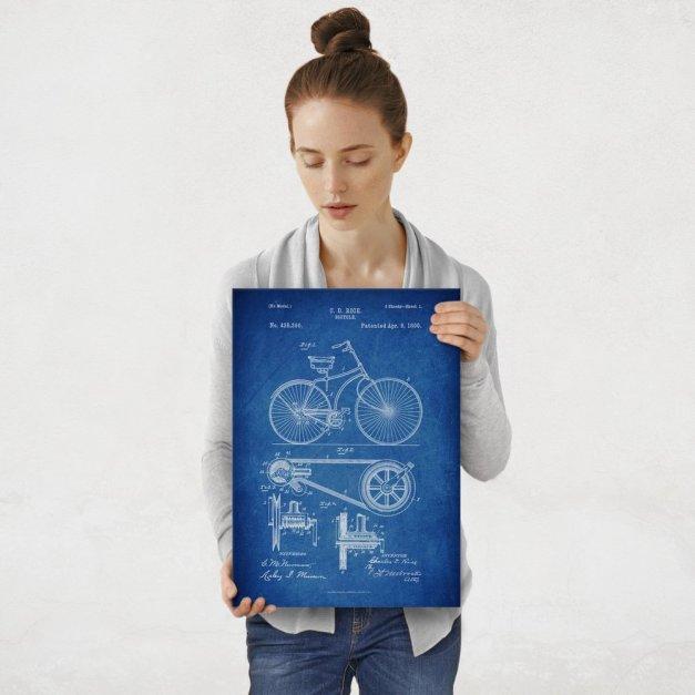 Plakat metalowy niebieski projekt patentu rowera M