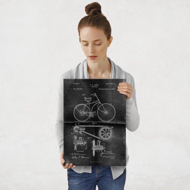 Plakat metalowy projekt patentu rowera na czarnym papierze M