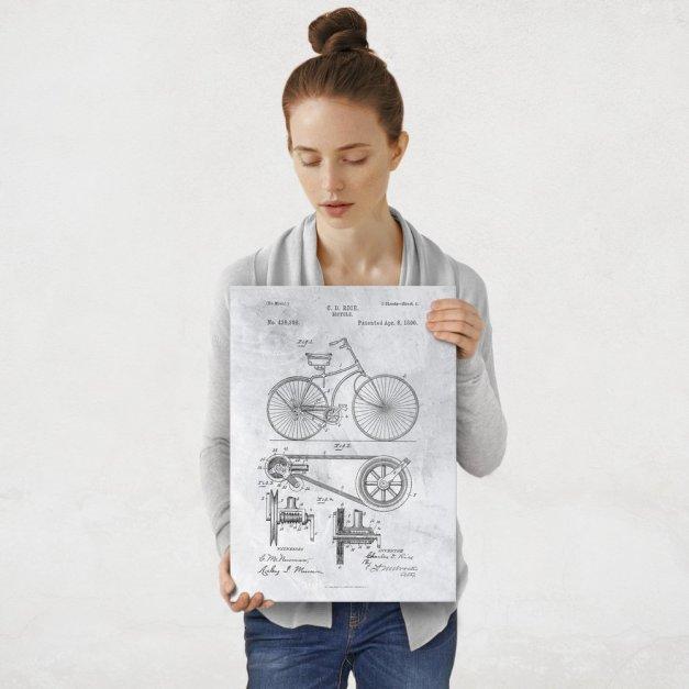 Plakat metalowy szary projekt patentu rowera M