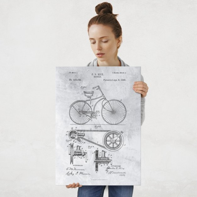 Plakat metalowy szary projekt patentu rowera L