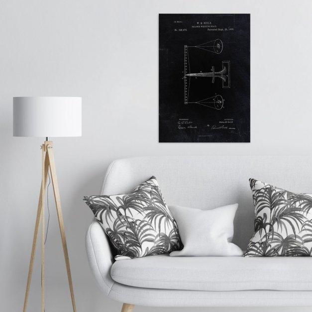 Plakat metalowy czarny projekt patentu wagi L