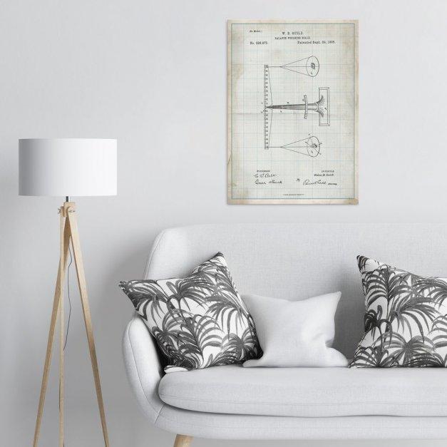 Plakat metalowy projekt patentu wagi na papierze w kratkę L