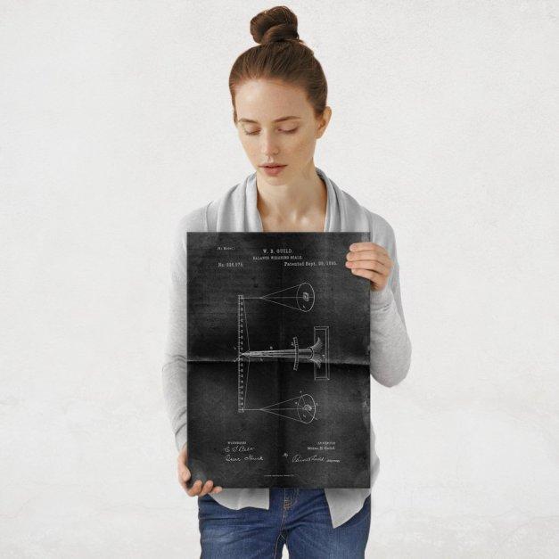 Plakat metalowy projekt patentu wagi na czarnym papierze M