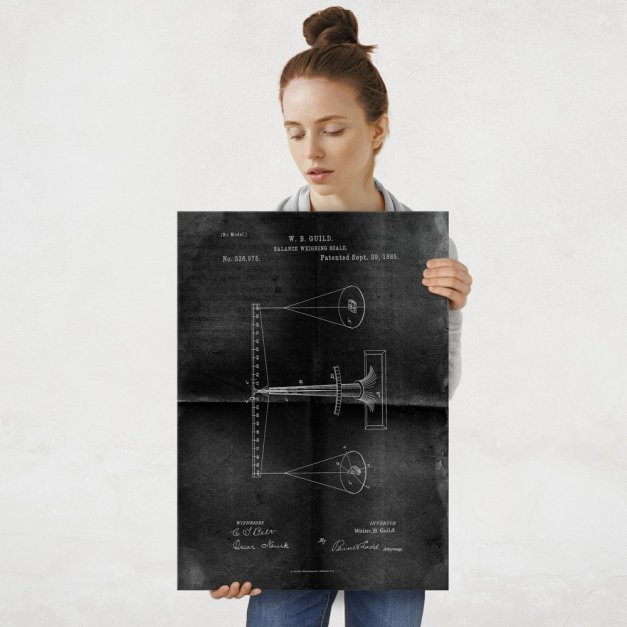 Plakat metalowy projekt patentu wagi na czarnym papierze L