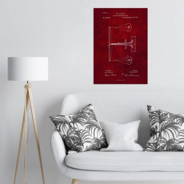 Plakat metalowy czerwony projekt patentu wagi L