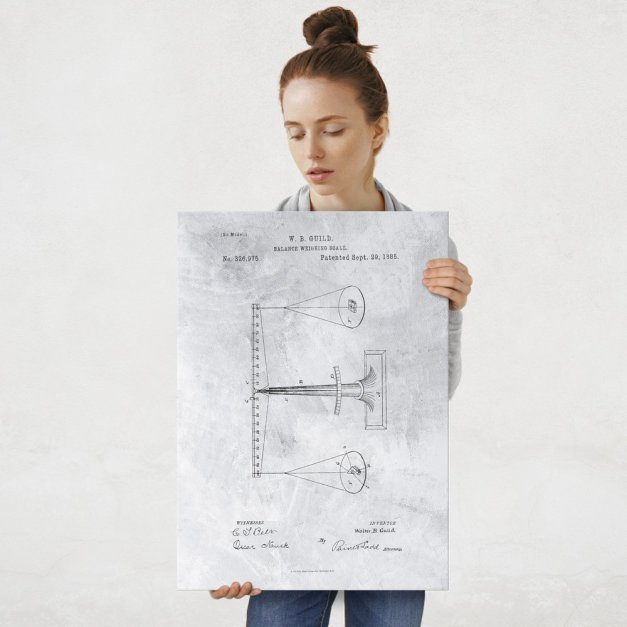 Plakat metalowy szary projekt patentu wagi L