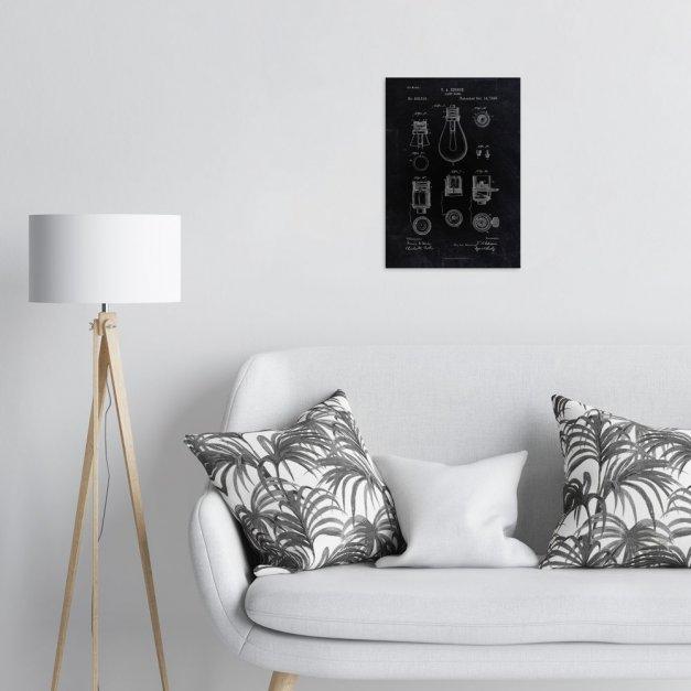 Plakat metalowy czarny projekt patentu żarówki Edisona M