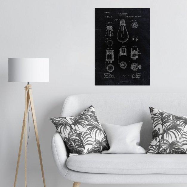 Plakat metalowy czarny projekt patentu żarówki Edisona L