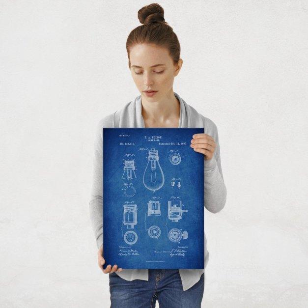 Plakat metalowy niebieski projekt patentu żarówki Edisona M