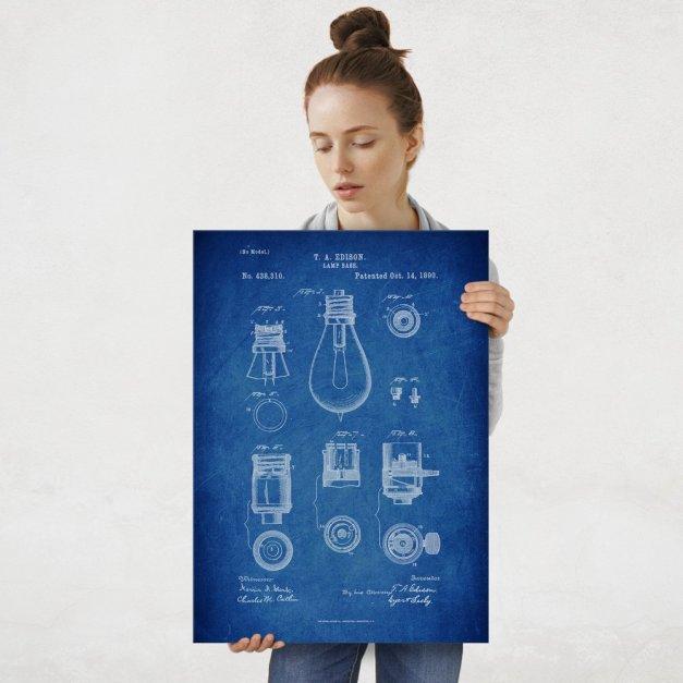 Plakat metalowy niebieski projekt patentu żarówki Edisona L