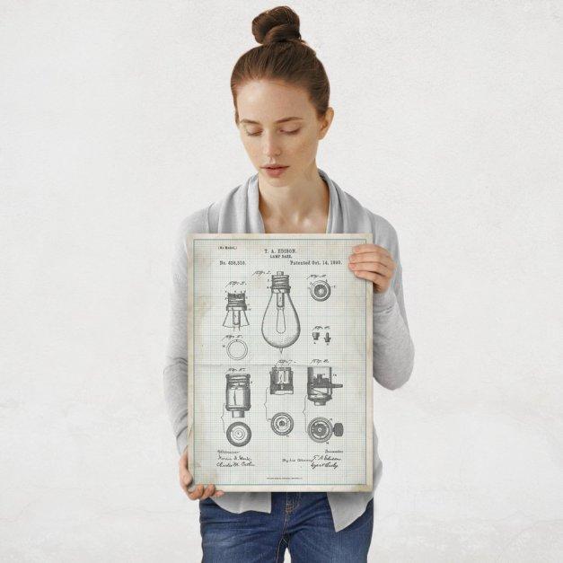 Plakat metalowy projekt patentu żarówki Edisona na papierze w kratkę M