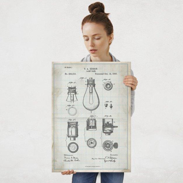 Plakat metalowy projekt patentu żarówki Edisona na papierze w kratkę L