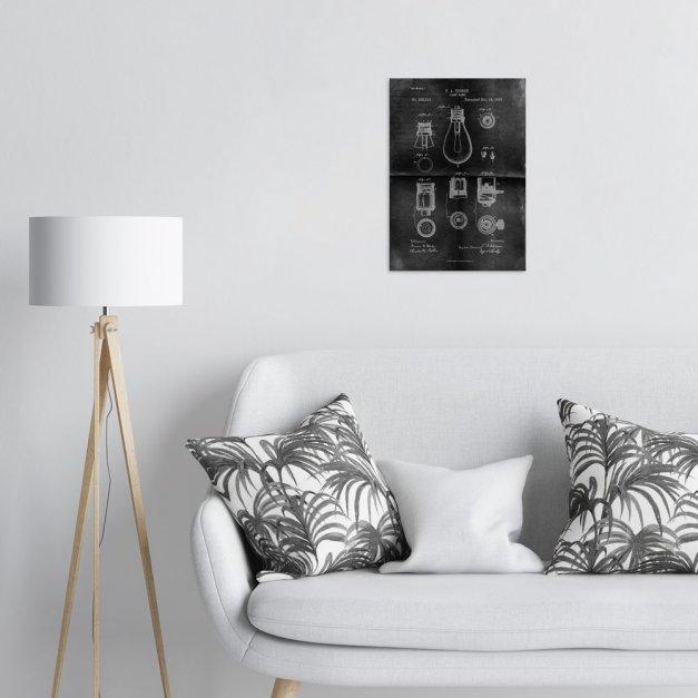 Plakat metalowy projekt patentu żarówki Edisona na czarnym papierze M