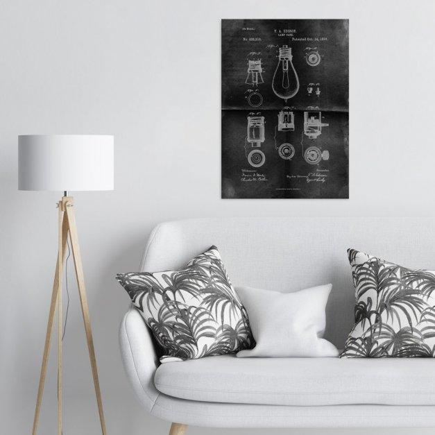 Plakat metalowy projekt patentu żarówki Edisona na czarnym papierze L