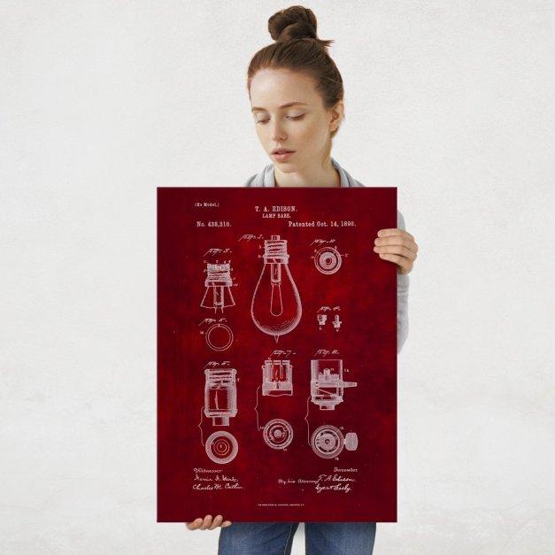Plakat metalowy czerwony projekt patentu żarówki Edisona L