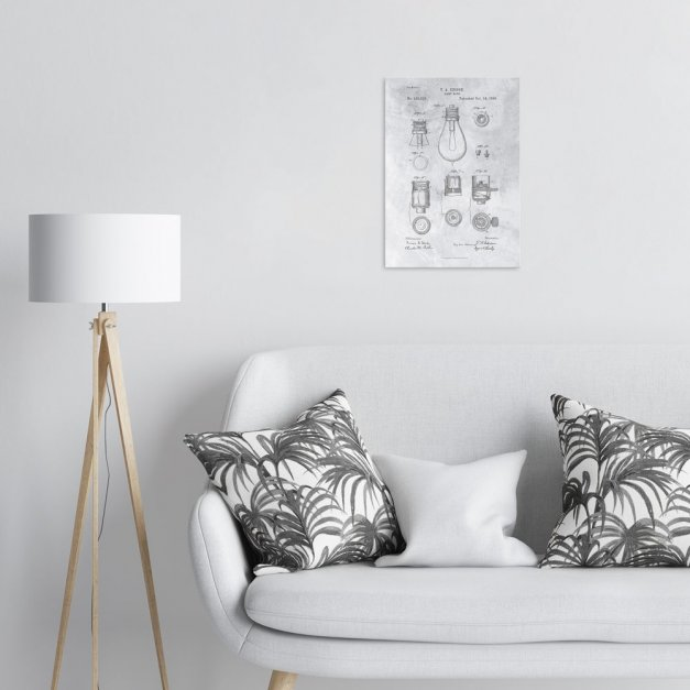Plakat metalowy szary projekt patentu żarówki Edisona M