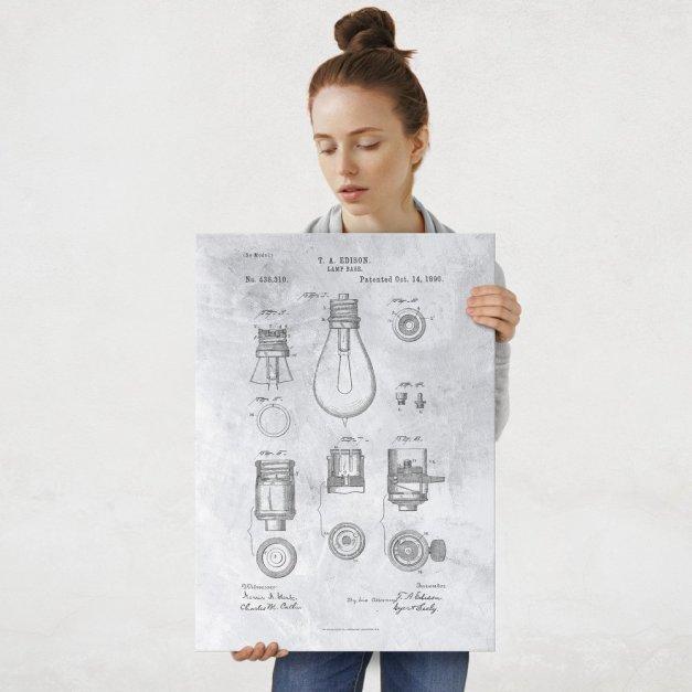 Plakat metalowy szary projekt patentu żarówki Edisona L