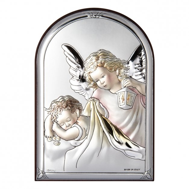 Obrazek Srebrny COLOR Anioł Stróż 11cm GRAWER