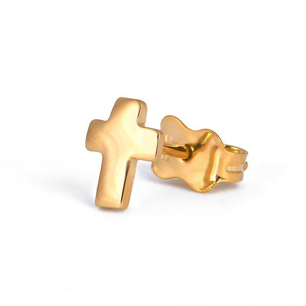 Złote Kolczyki 333 Krzyżyk GRAWER